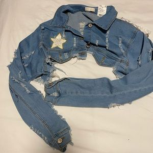 Super cropped jean jacket NEVER WORN WITH TAG